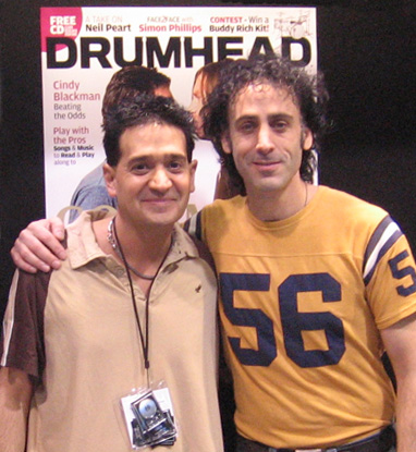 Joey P. with Jonathan Mover at the premier of his new magazine, DrumHead