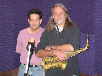 Joey P. working in the studio with Marc Russo