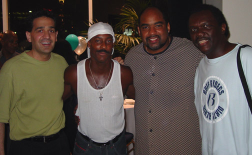 "Joey P. with Sonny Emory of Earth, Wind & Fire, Jazz legend Gerald Albright, and Dale ""RamBro"" Ramsey"